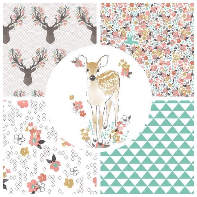 Crib Bedding Set Woodland Critters Deer Fawn Modern