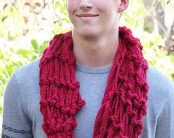 Handmade Infinity Scarf - Cranberry (red)