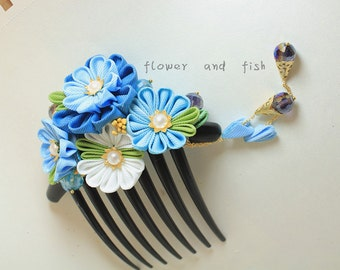 Bridal Hair Comb,Blue Floral Bridal Comb,  Flower Bridal Comb, Bridal Hair Accessories, Bridal Hair Flower,Comb,something blue-Z15