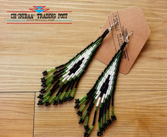 Dark Green Black and White Shoulder Duster Native American Earrings- Pow Wow Style