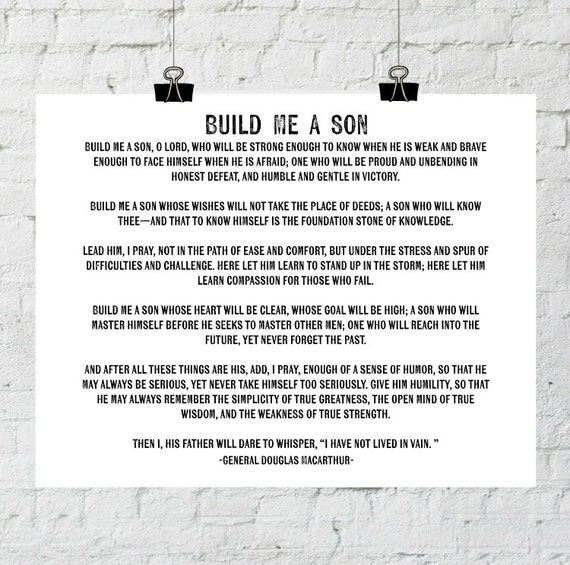 Build Me A Son, Father And Son, General Douglas MacArthur Quote, Baby Room Decor, Instant Download, Printable Wall Art, The Copper Anchor