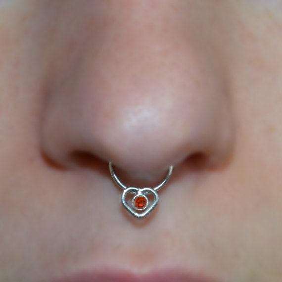 2mm Garnet Heart Septum Ring - Silver Septum Jewelry - Nose Ring - Tragus Earring - Cartilage Hoop - Nipple Ring - Septum Hoop 16 gauge