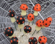 Miniature mushrooms, Halloween miniatures, fairy garden mushrooms, terrarium garden mushrooms, black and orange mushrooms