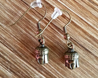 Buddha Head Yoga Earrings in Bronze