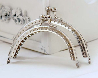 1 PCS, Various Sized Half Round Solid Beaded Silver  Kiss Clasp Lock Purse Frame, K136