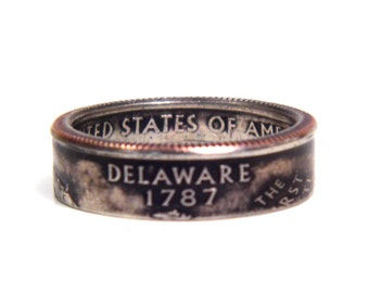 Size 7 1/2 Delaware State Quarter Coin Ring