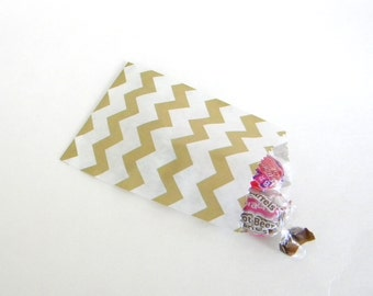 "20 Small Metallic Gold and White Chevron Paper Gift Bags, 2.75 x 4"", Wedding Favor Bag, Christmas Gift Bags, Valentine's Day Bags"