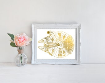 Star Wars, INSTANT DOWNLOAD, Millennium Falcon, Han Solo, geeky nerdy print, faux gold leaf Star Wars wall art home decor gift