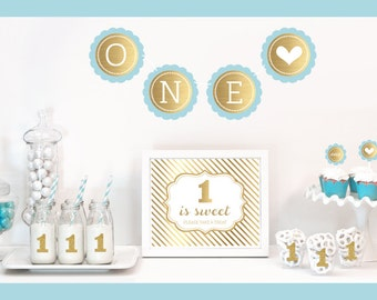 1st Birthday Party Decor Kit, Gold Birthday Theme, Gold Party, Blue or Pink Birthday Party Decoration, ONE Birthday Party Package (EB4011FY)