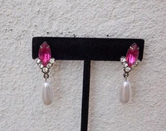 Vintage Pink Rhinestone Drop Pearl Earrings with Post Backs