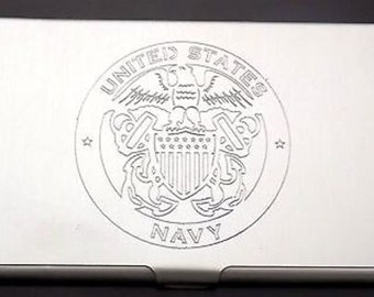 US Navy United States Engraved Vet Business Credit ID Card Metal Case BUS-0004