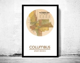 COLUMBUS OHIO - city poster - city map poster print