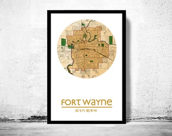FORT WAYNE - city poster - city map poster print
