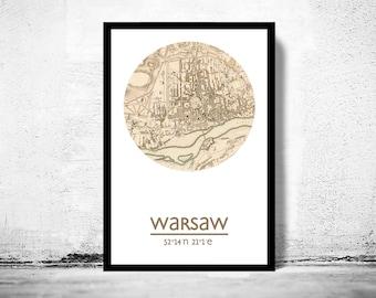 WARSAW - city poster - city map poster print