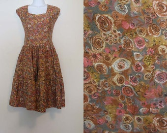 Vintage 1970s Brown Floral Tank Dress