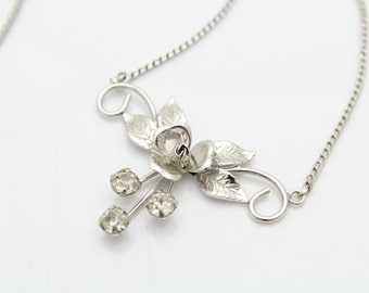 """Vintage Sterling Silver and Rhinestone Rose Flower Lavalier Necklace 15"""". [3939]"""