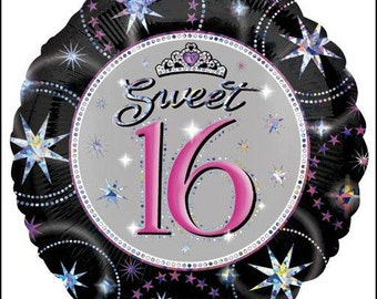Sweet 16 Balloon, Sweet Sixteen Balloon, 16th Birthday Balloon,