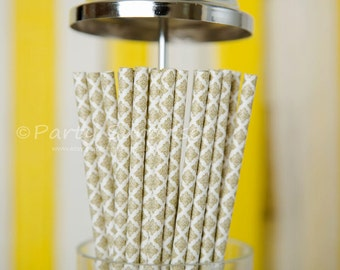 Gold Straws Damask, Silver Damask Straws, Wedding Straws,Vintage Retro Paper Straws,Gold Paper Party Straws