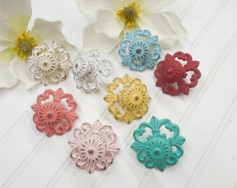 Shabby Chic Knob-24 colors/Cabinet Knobs/Knobs/Drawer Pulls/Dresser Knobs/ Nursery Decor/Pink/Coral/ Blue/Ivory/Knobs