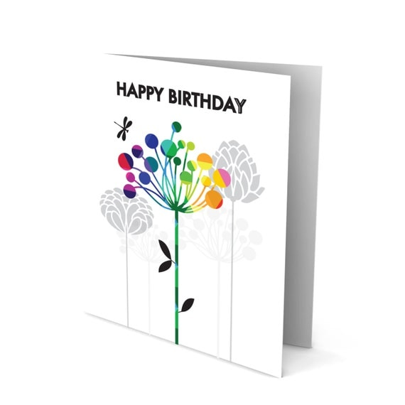 Happy Birthday Greeting Card with a Colorful Flower