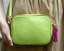 Popular items for green leather bag on Etsy