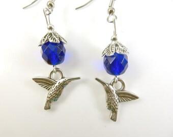 Cobalt blue hummingbird earrings