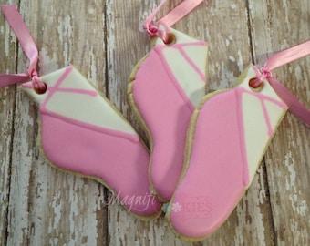 Ballet slipper decorated cookies