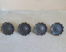 Vintage French Provincial Floral Dresser Drawer Screw In Knobs - Set of 4 - Ornate Salvaged Furniture Hardware