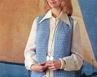 "CROCHET LADY'S VEST Pattern 3 Sizes 34, 36, 38"" Bust - Double Knitting Yarn Vintage Sleeveless Jacket - Pdf Instant Download Kenyon 1246"