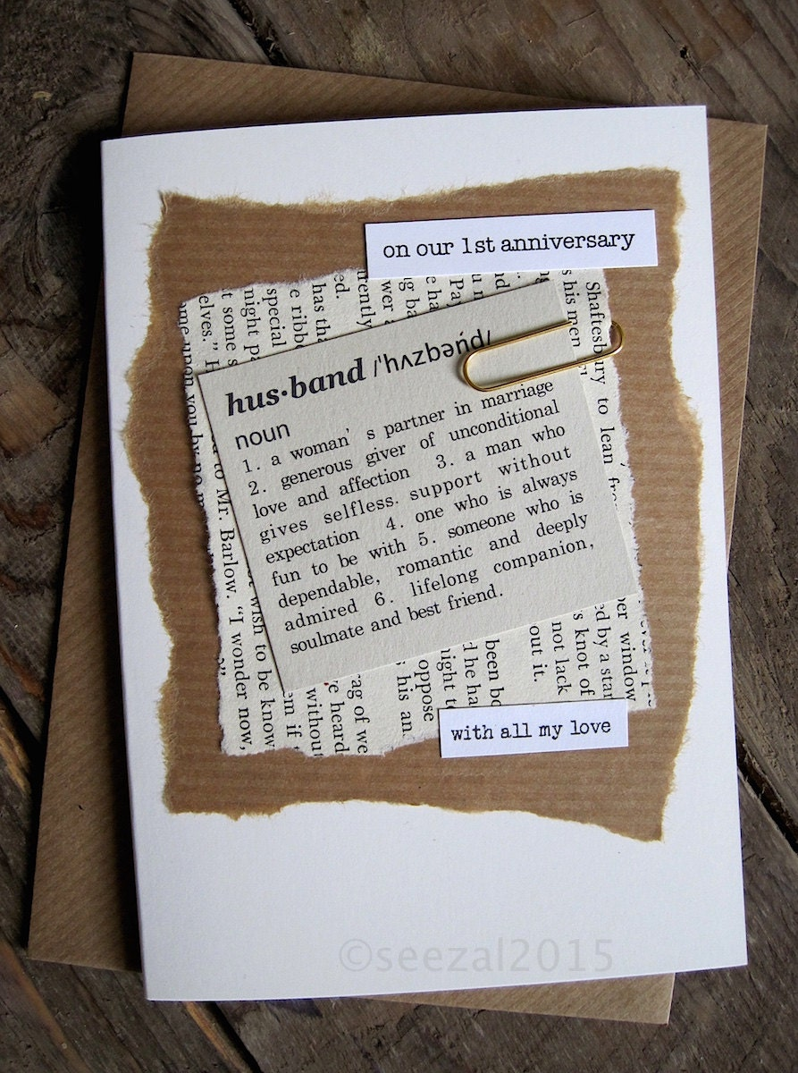 1st Anniversary Wedding Day Card Husband. Paper. Dictionary