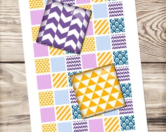 Geometric candy digital collage sheet, purple, yellow triangles, bottle cap, printable download, digital paper, square collage