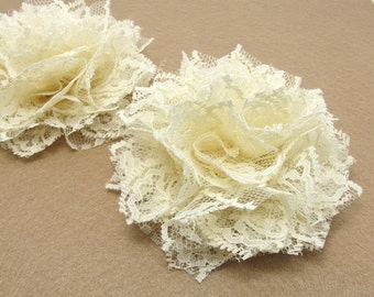 3 15/16 Inches Pleated Lace Flower|Ivory Lace Flower Applique|Hair Supplies|Decorative Flower|Scrapbook Embellishment