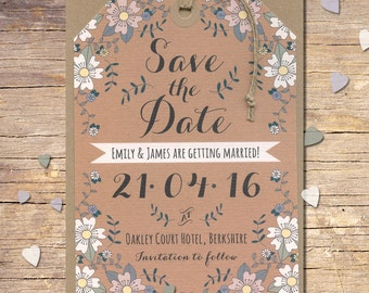 Spring Flowers Save the Dates, Rustic Save the Date, Outdoor Wedding, Modern Wedding, Floral Stationery, Bespoke Stationery {DEPOSIT}