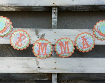 Garden Theme Personalized Name Banner, Birthday Decor, Birthday Banner, Age Banner, High Chair Banner, Baby Shower Decor, Butterfly Banner