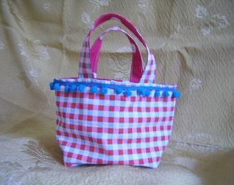 Girls HandBag Small Cotton Fabric Handmade Reversible Toddlers Bag Little Girls Purse