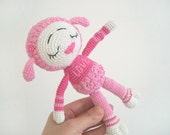 Crochet toy Sleeping Lamb /Soft watermelon pink toy  for kids / cute souvenir / baby gift /Tiny crocheted toy