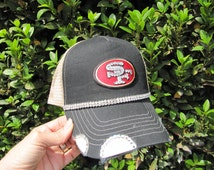 SF 49er Trucker Hats, SF, 49er, Football Team,  Bling Hat, Spirt Hat, Womens Hat, Sworovski Crystal Hat