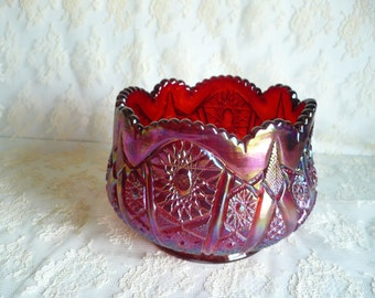 "Vtg iridescent cranbery red carnival glass bowl Indiana red heirloom hobster arches 5 3/4"" bowl"
