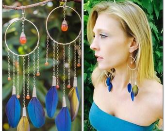 Sterling Macaw & Carnelian Dreamcatcher Earrings