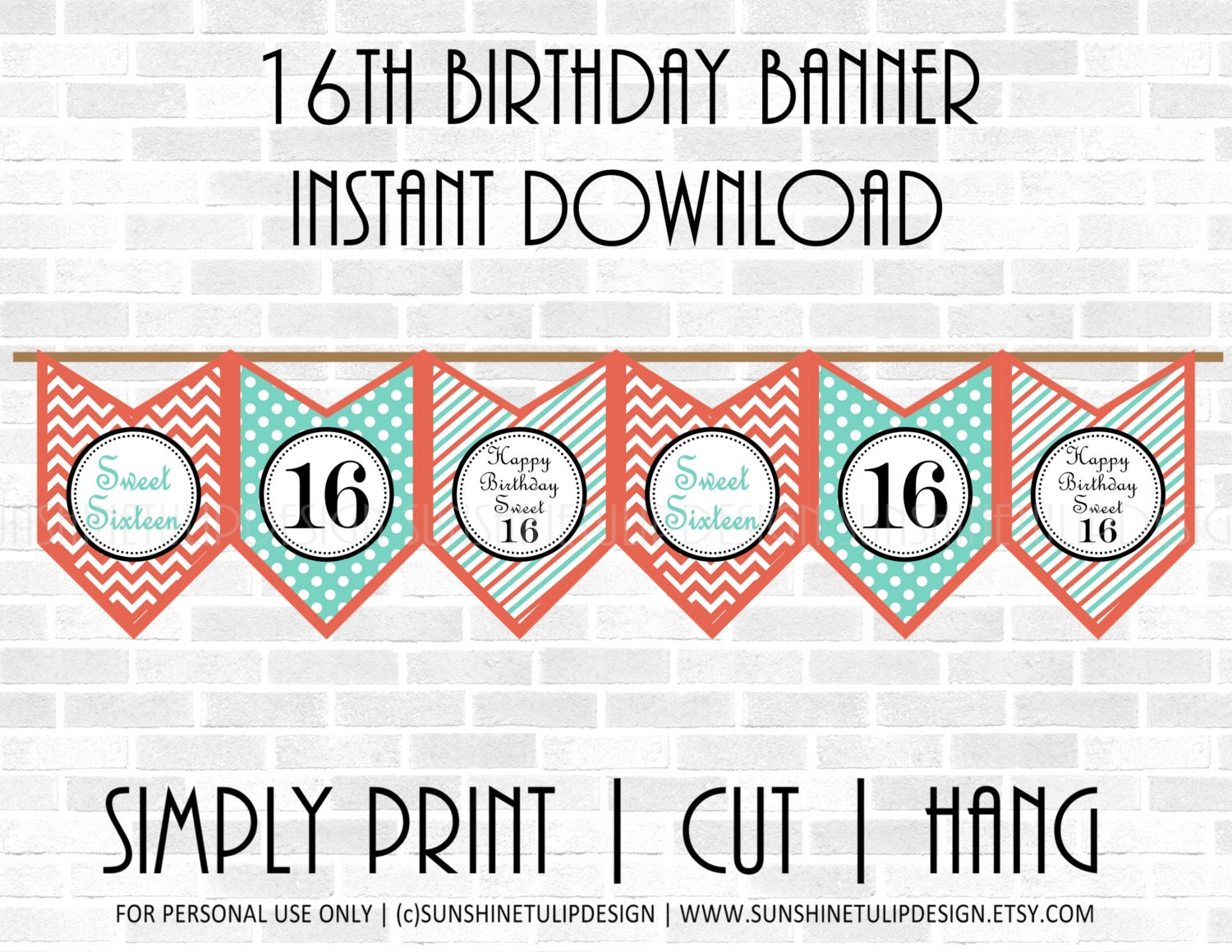 printable 16th birthday banner sweet 16 birthday banner coral and turquoise birthday banner by. Black Bedroom Furniture Sets. Home Design Ideas