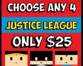 Justice League Posters (Choose any 4: Batman, Superman, Wonder Woman, Flash, Green Lantern, more) Superhero Wall Art, Birthday, Mancave