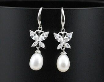 Pearl earrings bridal,drop pearl earings,butterfly earrings,genuine pearl earrings wedding,bridesmaid pearl earrings,crystal earrings