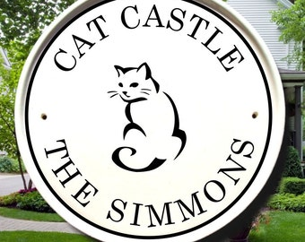 Pretty Kitty Cat Plaque/Cat  Decor Sign/Address Plaque/House Numbers Sign/Pet Decor/Personalized Cat Sign