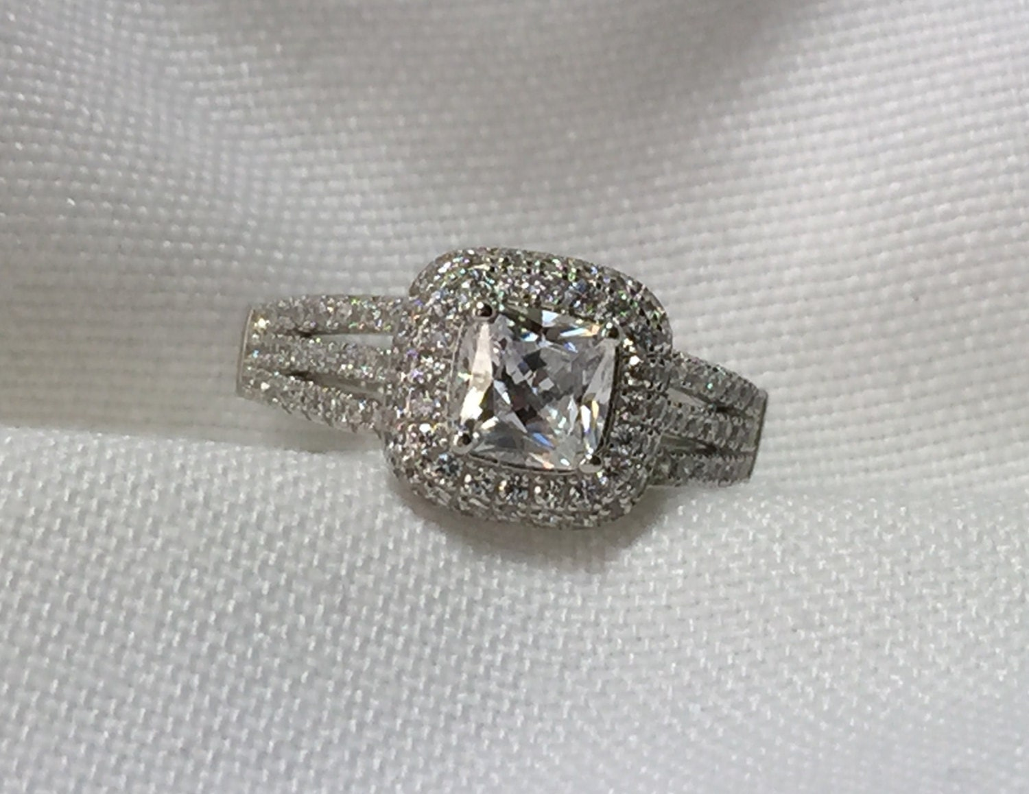 Double Halo Ring Princess Cut Engagement Ring by antiqueandmore