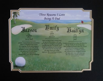"Gift For Dad Golf ""Reasons I Love Being a Dad"" Personalized Birthday Father's Day From One, Two or Three Children"