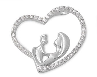 Mother and Child Pendant Solid 925 Sterling Silver Heart Necklace Rhinestone Micro Pave Clear CZ Lovers For Daughter Mothers Valentines Day