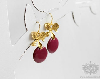 Ich bin Luxus - 'Emaille for YOU - pansy purple' orchid earrings