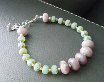 Gemstone jewelry Tourmaline and amethyst bracelet Pink tourmaline bracelet Bohemian gemstone bracelet Tourmaline jewelry Chakra jewelry
