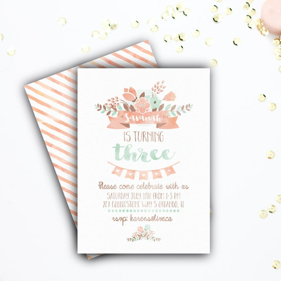 Girl's Birthday Party Invitation, Feminine Party Invitation, Floral, Pink, Mint, Stripes, Printable, Digital, 4x6 or 5x7 #6