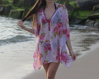 Women's swim cover up in floral pink georgette with embellishment detail